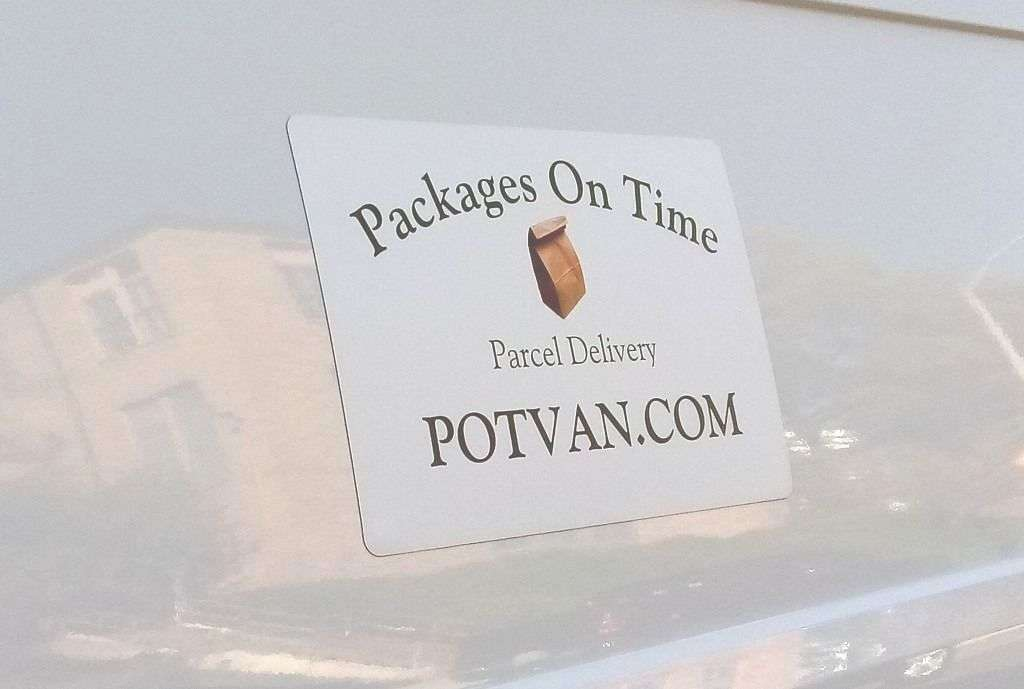 Local Delivery Franchises - POTVAN van sign for POTVAN and POTVAN.com and Packages On Time